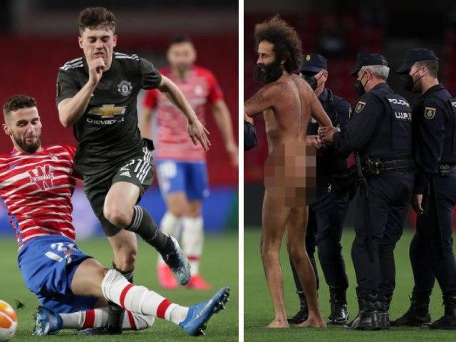 """MU đá tứ kết Europa League, fan cuồng """"trần như nhộng"""" vào sân làm loạn"""
