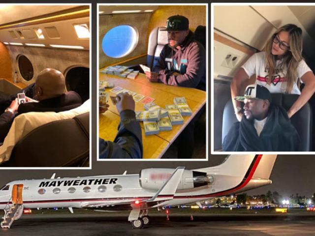 """Mayweather đính hôn """"vũ nữ thoát y"""", được người đẹp chăm sóc trên máy bay"""