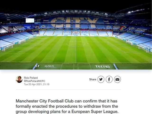 Super League đón cú sốc: Man City chính thức rút lui, trở lại đá Ngoại hạng Anh