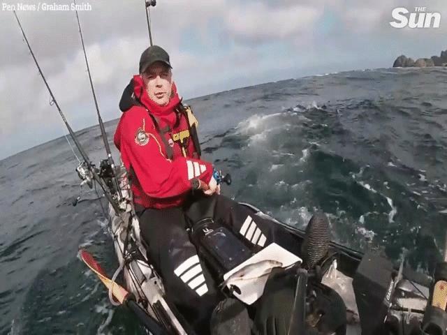 Video: Giằng co với cá mập, bị kéo lật xuồng