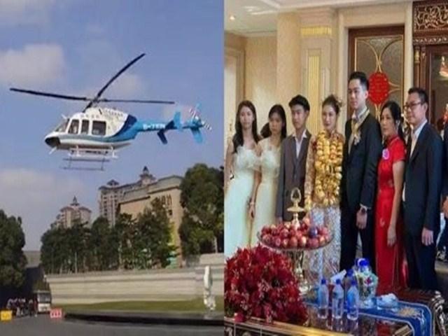 """Chú rể rước dâu bằng trực thăng, kết thúc hôn lễ thừa nhận """"đi mượn"""""""