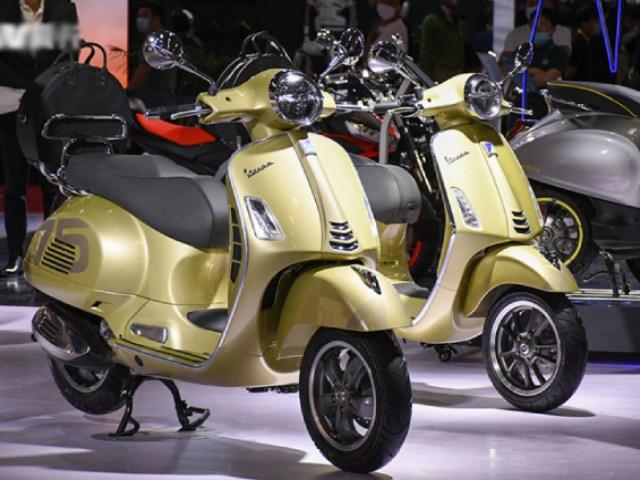Ảnh thực bộ đôi xe ga Vespa Primavera và GTS bản kỷ niệm 75 năm tuyệt đẹp