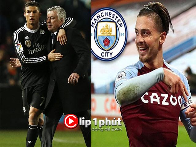 Real nhờ Ancelotti để mơ tái hợp Ronaldo, Man City ủ mưu săn Grealish (Clip 1 phút Bóng đá 24H)