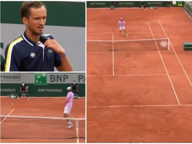 """""""Ảo thuật"""" Roland Garros: Medvedev biến """"khổng lồ"""" 2m11 thành gã hề"""