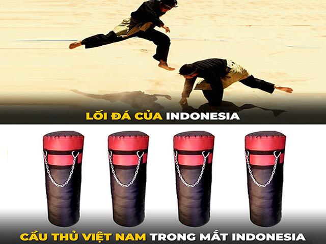 """Ảnh chế: ĐT Việt Nam vùi dập các """"võ sĩ"""" Indonesia không thương tiếc"""