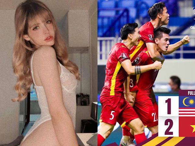 Sao Việt vỡ òa trước chiến thắng của ĐT Việt Nam, mẫu Tây Andrea làm điều bất ngờ vì Tiến Linh