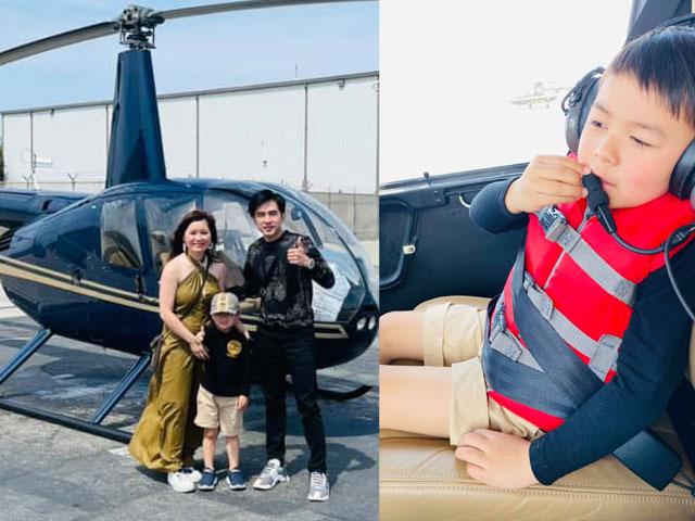 Vợ chồng Đan Trường thuê hẳn máy bay trực thăng chiều theo ý thích của con