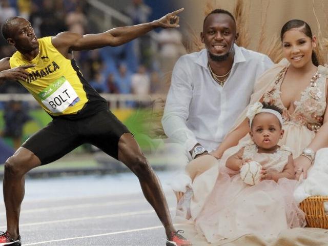 """""""Tia chớp đen"""" Usain Bolt 1 năm 3 lần lên chức bố, """"tốc độ"""" như chạy 100m"""