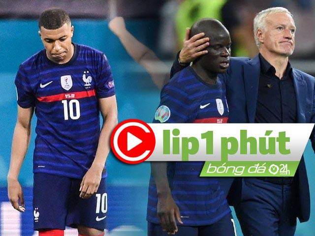 """""""Vua thế giới"""" Pháp bị loại sốc ở EURO, Mbappe dễ khiến Deschamps """"bay ghế"""" (Clip 1 phút Bóng đá 24H)"""