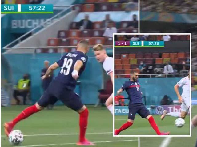 """Khoảnh khắc EURO: Benzema đỡ bóng ảo diệu như Bergkamp, thủ môn Thụy Sĩ """"tấu hài"""""""
