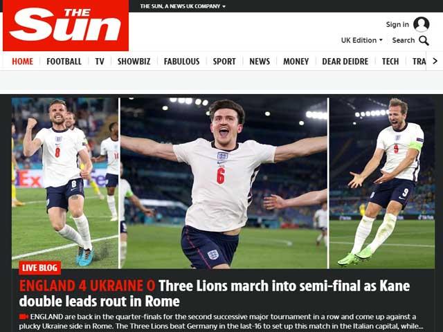 ĐT Anh đại thắng tứ kết EURO 2020, báo chí tự tin gọi tên nhà vô địch tương lai