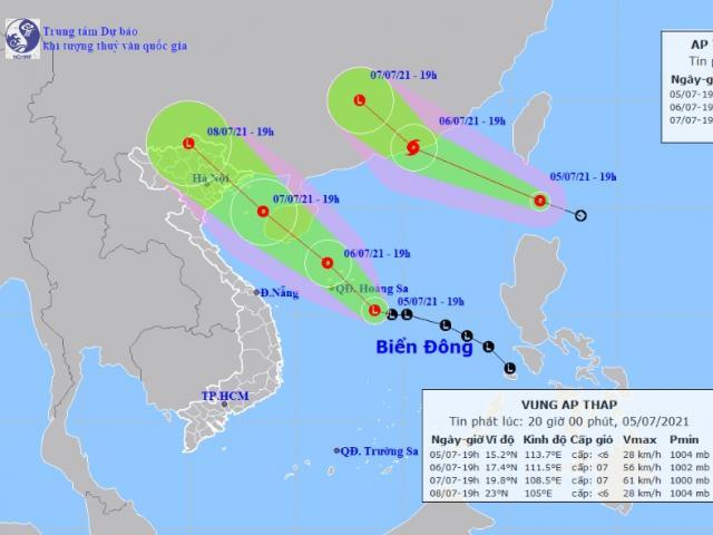 Áp thấp nhiệt đới hoạt động song song với vùng áp thấp trên Biển Đông