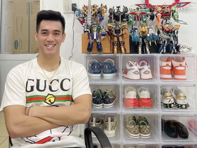 """Tiến Linh soán ngôi """"vua hàng hiệu"""" Quang Hải với tủ giày đắt đỏ"""