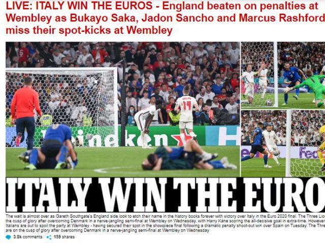 Italia vô địch EURO: Báo Anh sốc nặng, báo Ý ngợi ca 2 người hùng