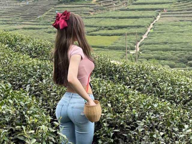 Lên núi, hái chè, 2 mỹ nữ Thượng Hải, Hàng Châu mặc nửa kín nửa hở tôn vòng hông điểm 10