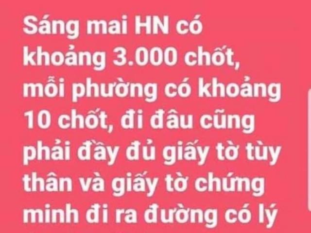 Bác tin Hà Nội lập 3.000 chốt kiểm dịch COVID-19 trong nội thành