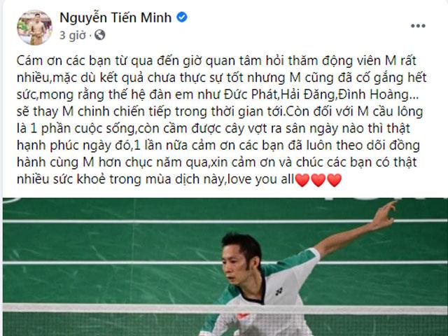 """Tiến Minh viết tâm thư về Olympic, kể tên các """"truyền nhân"""" cầu lông Việt Nam"""