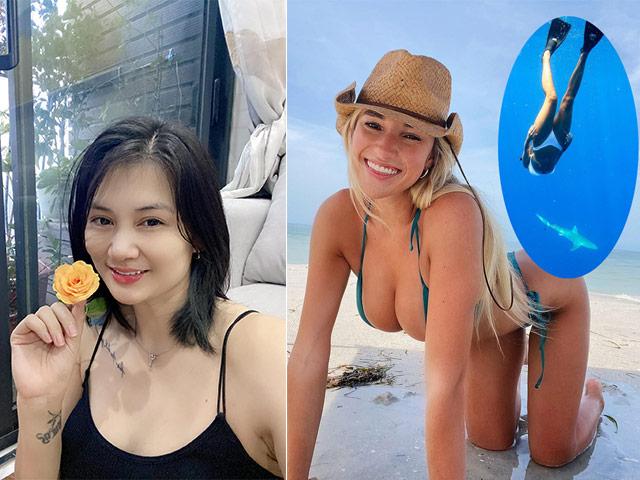 """Hoa khôi bóng chuyền Kim Huệ """"cảm xúc chông chênh"""", người đẹp Mỹ mạo hiểm với cá mập"""