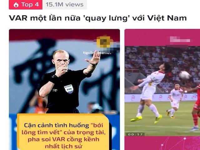 """""""VAR một lần nữa quay lưng với Việt Nam"""" lọt top trending TikTok"""